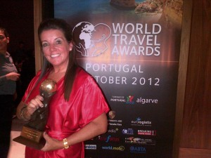 "Debrah Dhugga with the coveted ""Europe's Leading Boutique Hotel"" Award."