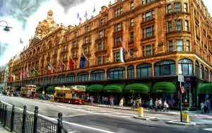 An external shot of Harrods in London during the day
