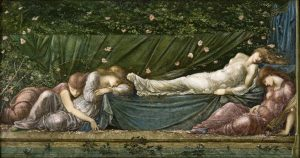 A painting depicting 'Sleeping Beauty' by Edward Coley Burne-Jones