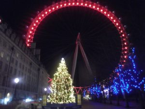The London Eye at Christmas, at night