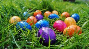 A variety of coloured Easter eggs hidden in the grass