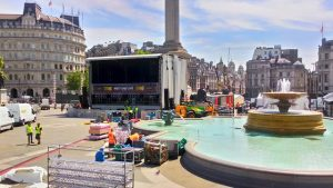 Setting up for West End LIVE in Trafalgar Square, London