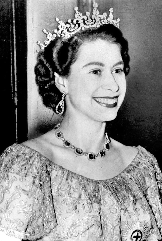 A black and white photo of a young queen elizabeth ii