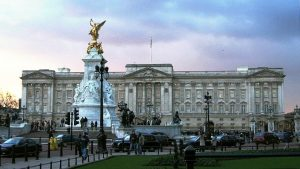 An external, front-facing shot of Buckingham Palace, London