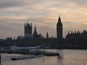 London's River Thames at dusk