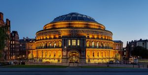 An external shot of the Royal Albert Hall, London, at dusk