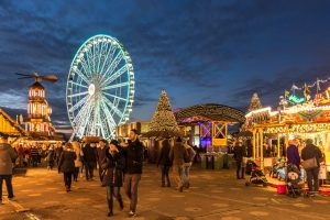 An evening shot of the Winter Wonderland at Hyde Park, London