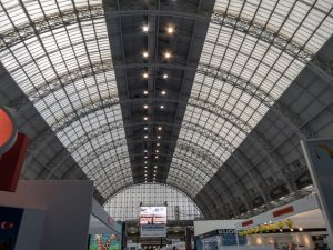 An internal view of the Olympia Exhibition Centre's roof, London