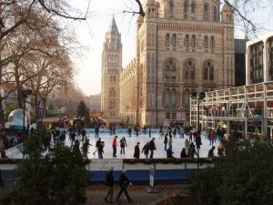 The ice rink at the National History Museum, London