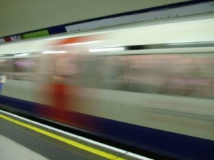 A moving London Tube train