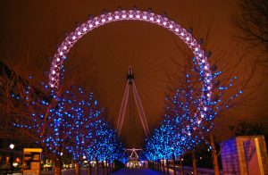 London Eye at Christmas, at night