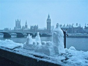 The London skyline made out of snow