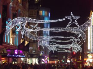 Coventry Street in London full of Christmas decorations