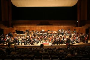 The London Philharmonic Orchestra rehearsing