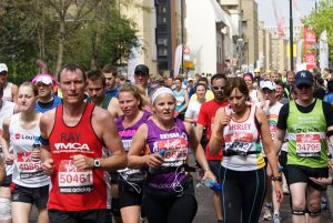 A group of runners in the 2010 London Marathon