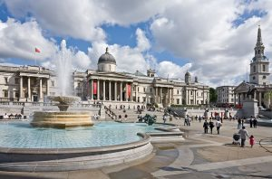 Trafalgar Square, London in the summer