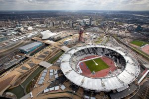 An aerial shot of London's Olympic Park