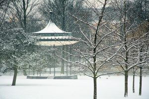 The bandstand in Regent's Park, London, in winter