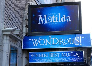 The theatre sign for Matilda The Musical in London