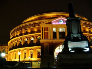 A nighttime shot of the Royal Albert Hall, London