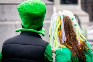 Two people in Irish-themed outfits