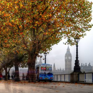 A shot of London in autumn, showing Big Ben and the River Thames