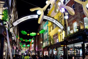 A view of Carnaby Street, London at Christmas