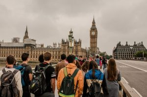 Tourists in front of Big Ben showing the hustle and bustle of London