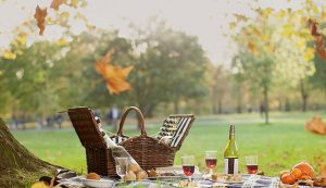 A picnic in the park arranged by DUKES London in one of the surrounding Royal Parks with a hamper, blanket and wine.